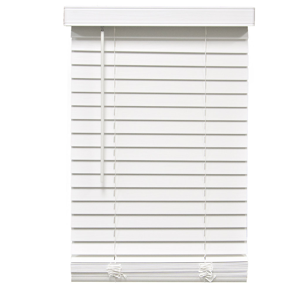2-inch Cordless Faux Wood Blind White 48.75-inch x 64-inch