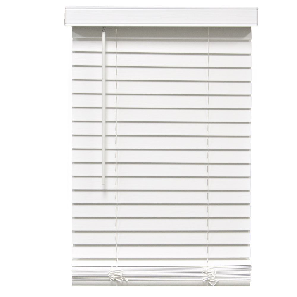 2-inch Cordless Faux Wood Blind White 64.75-inch x 72-inch