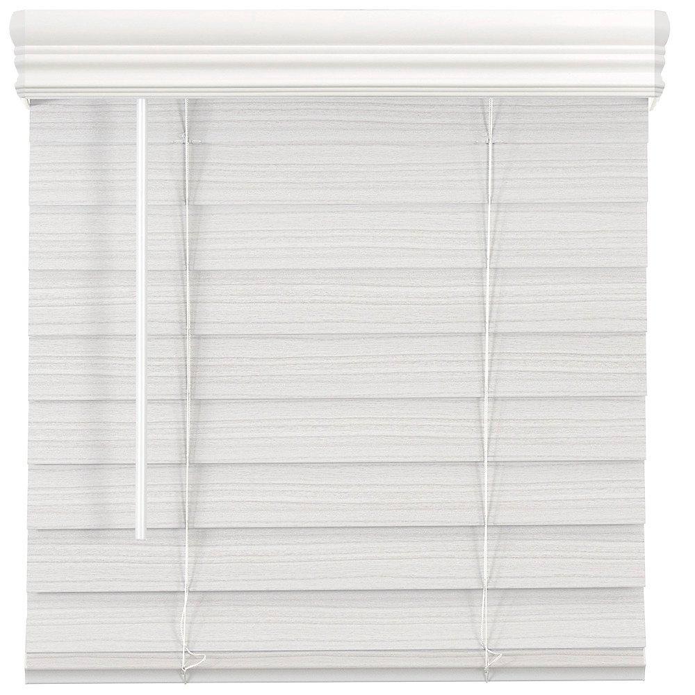 Store en similibois de qualité supérieure sans cordon de 6,35cm (2po) Blanc 80cm x 162.6cm