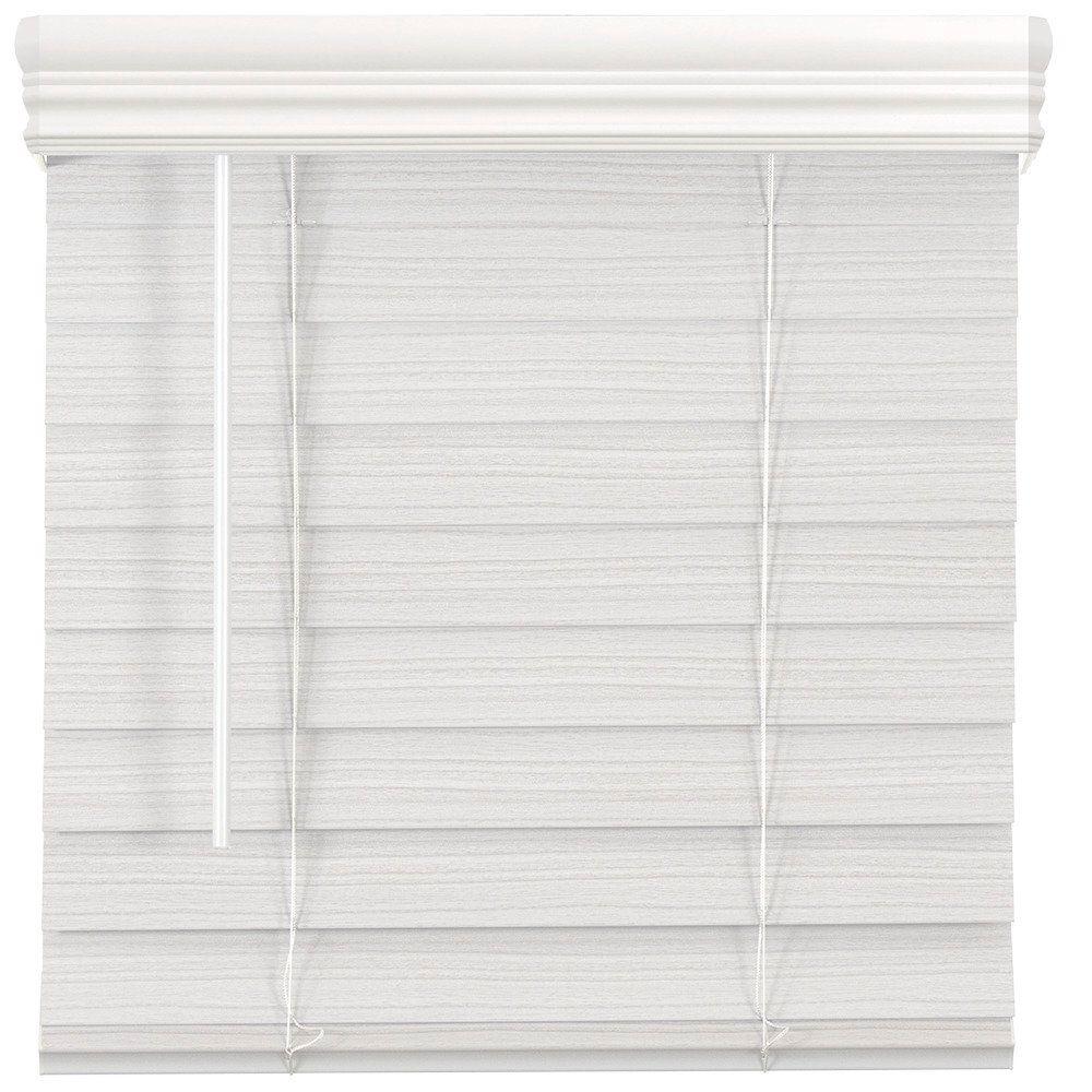 Store en similibois de qualité supérieure sans cordon de 6,35cm (2po) Blanc 85.7cm x 162.6cm