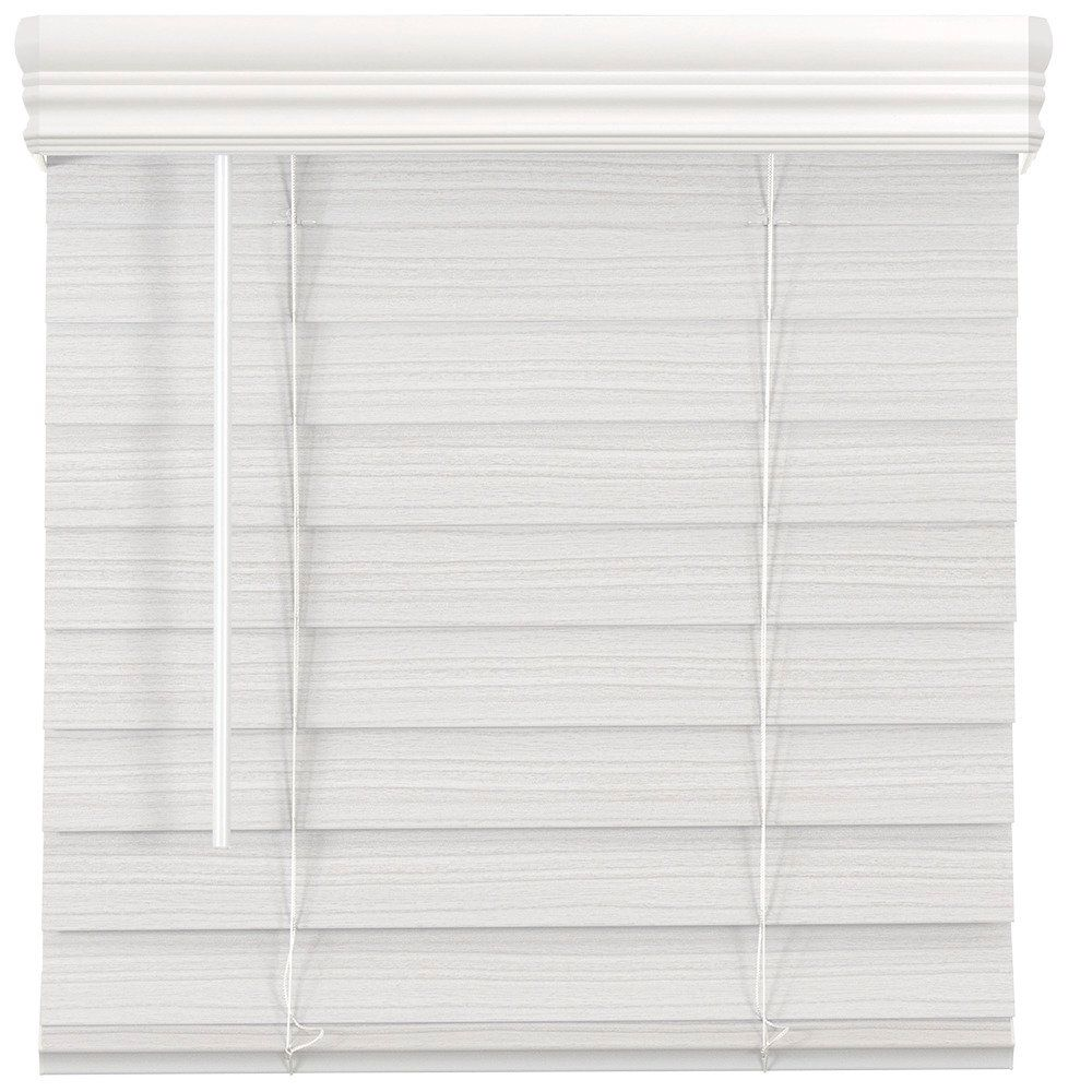 2.5-inch Cordless Premium Faux Wood Blind White 57.5-inch x 64-inch