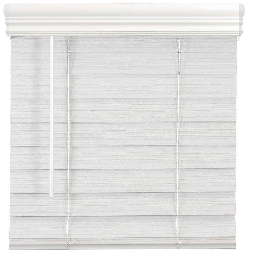 2.5-inch Cordless Premium Faux Wood Blind White 61.75-inch x 64-inch