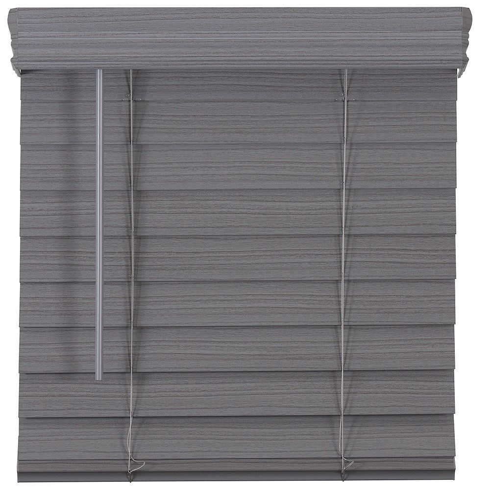 Home Decorators Collection 2.5-inch Cordless Premium Faux Wood Blind Grey 58-inch x 64-inch