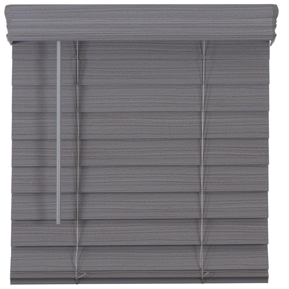 2.5-inch Cordless Premium Faux Wood Blind Grey 63.75-inch x 64-inch