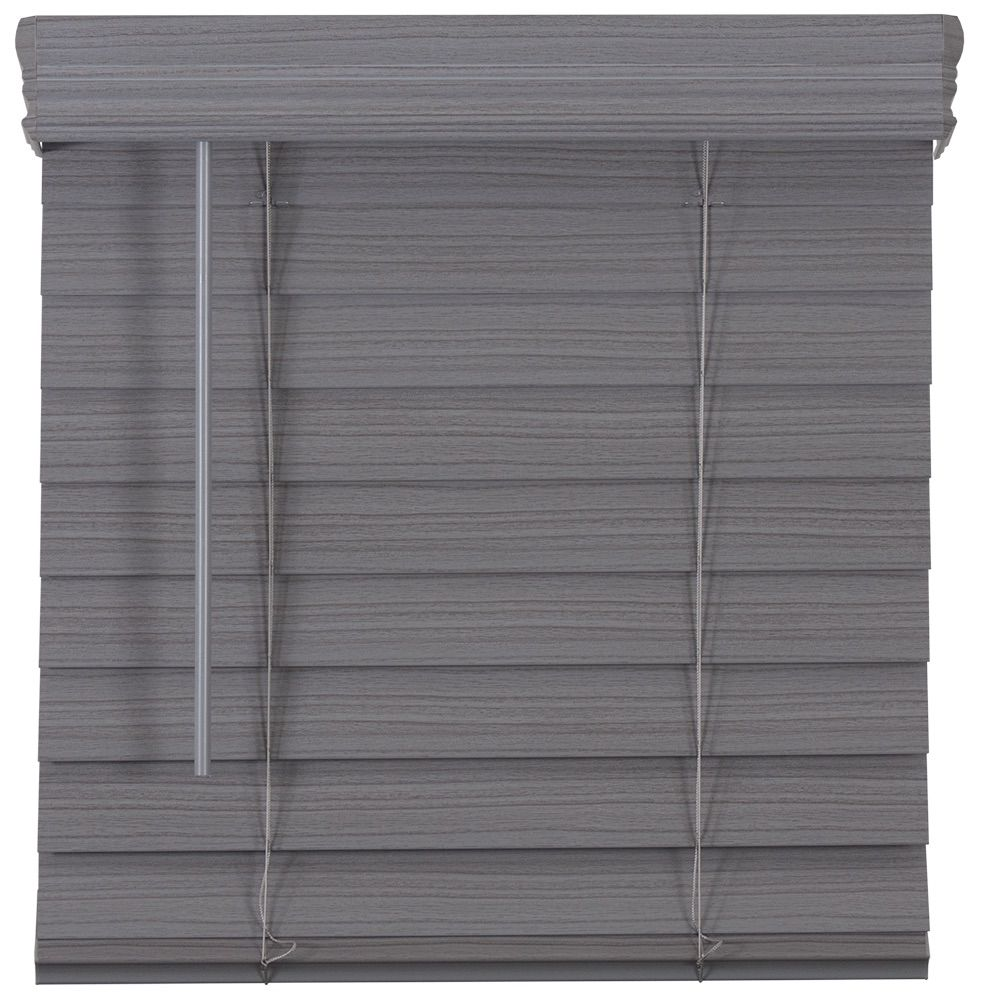 2.5-inch Cordless Premium Faux Wood Blind Grey 66.5-inch x 64-inch