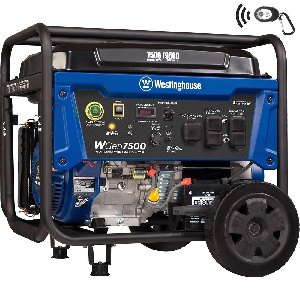 WGen7500 Remote Electric Start Portable Generator