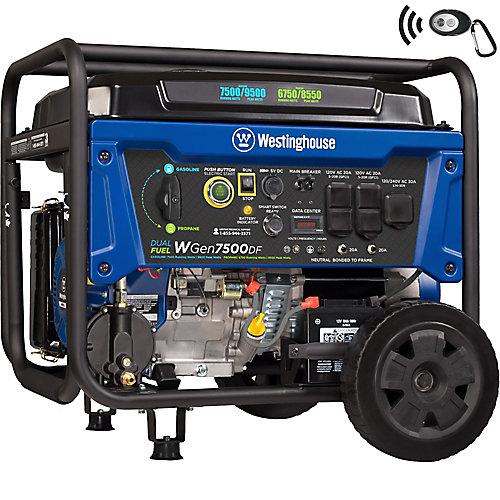 9,500/7,500-Watt Dual Fuel Gasoline or Propane Powered Portable Generator with Remote Start