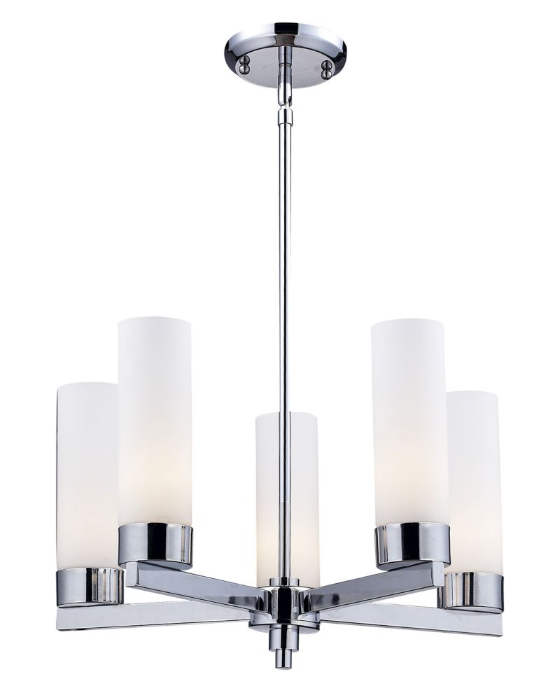 5-Light Chrome Chandelier with Matte Opal Glass - 20 inch