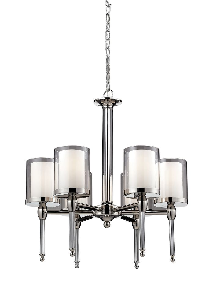 6-Light Chrome Chandelier with Clear and Matte Opal Glass - 22.25 inch
