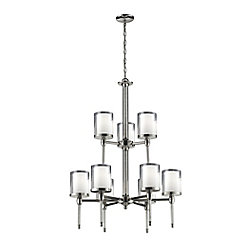 Filament Design 9-Light Chrome Chandelier with Clear and Matte Opal Glass - 28 inch