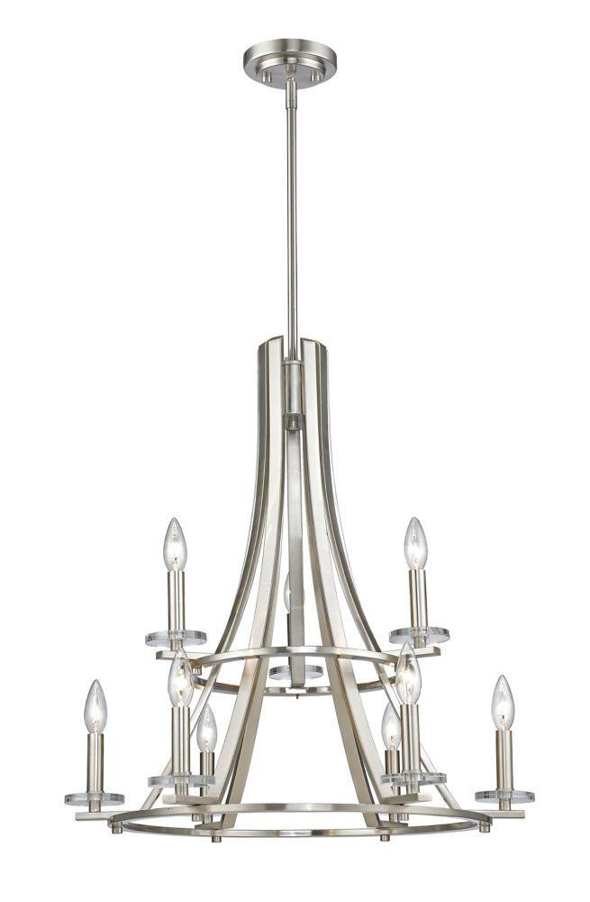 Filament Design 9-Light Brushed Nickel Chandelier - 25 inch