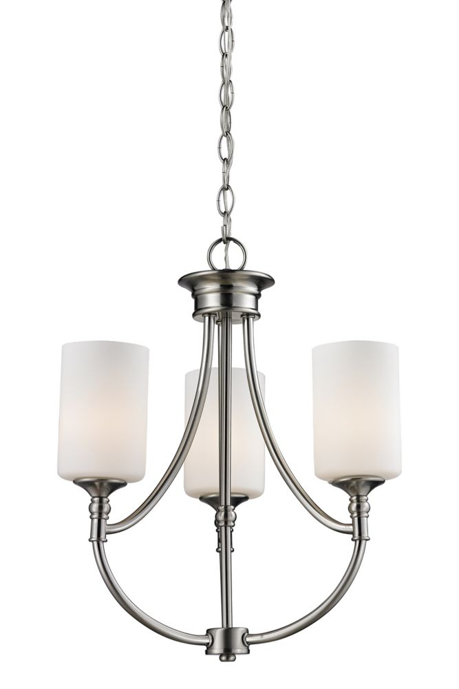 3-Light Brushed Nickel Chandelier with Matte Opal Glass - 17 inch