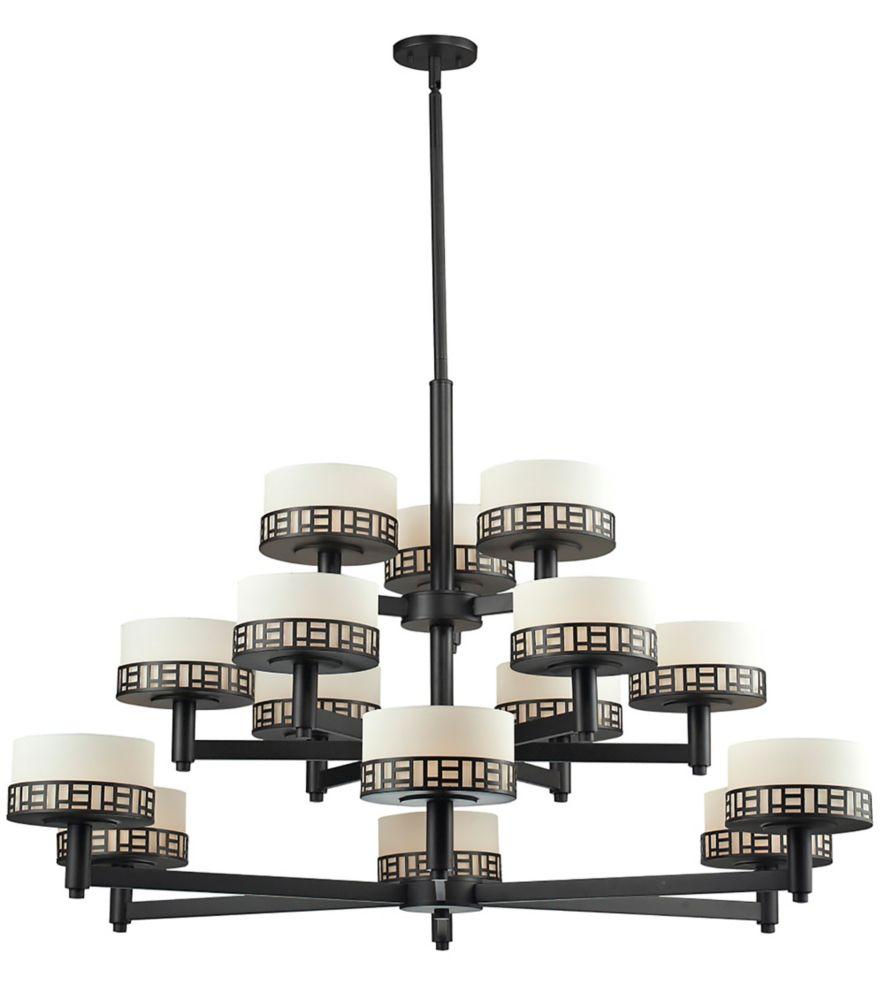 Filament Design 15-Light Bronze Chandelier with Matte Opal Glass - 48.875 inch