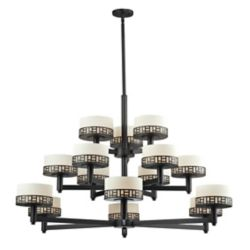 Filament Design 15-Light Bronze Chandelier with Matte Opal Glass - 48.875 inch