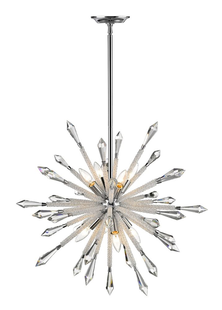 8-Light Chrome Chandelier with Clear Crystal Accents - 26.625 inch