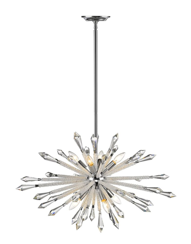 8-Light Chrome Chandelier with Clear Crystal Accents - 31.5 inch