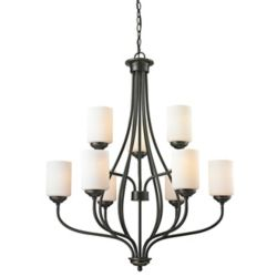 Filament Design 9-Light Olde Bronze Chandelier with Matte Opal Glass - 30 inch