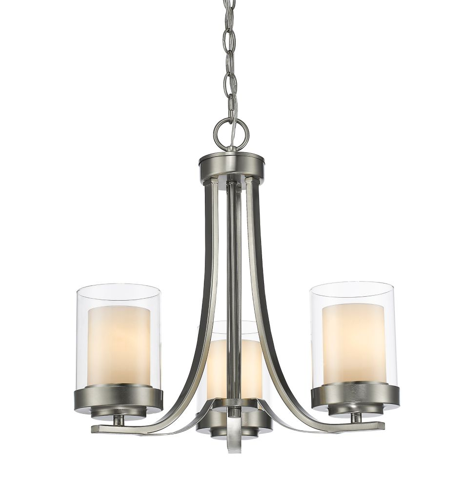 3-Light Brushed Nickel Chandelier with Clear and Matte Opal Glass - 16 inch