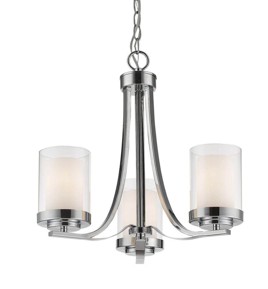 Filament Design 3-Light Chrome Chandelier with Clear and Matte Opal Glass - 16 inch