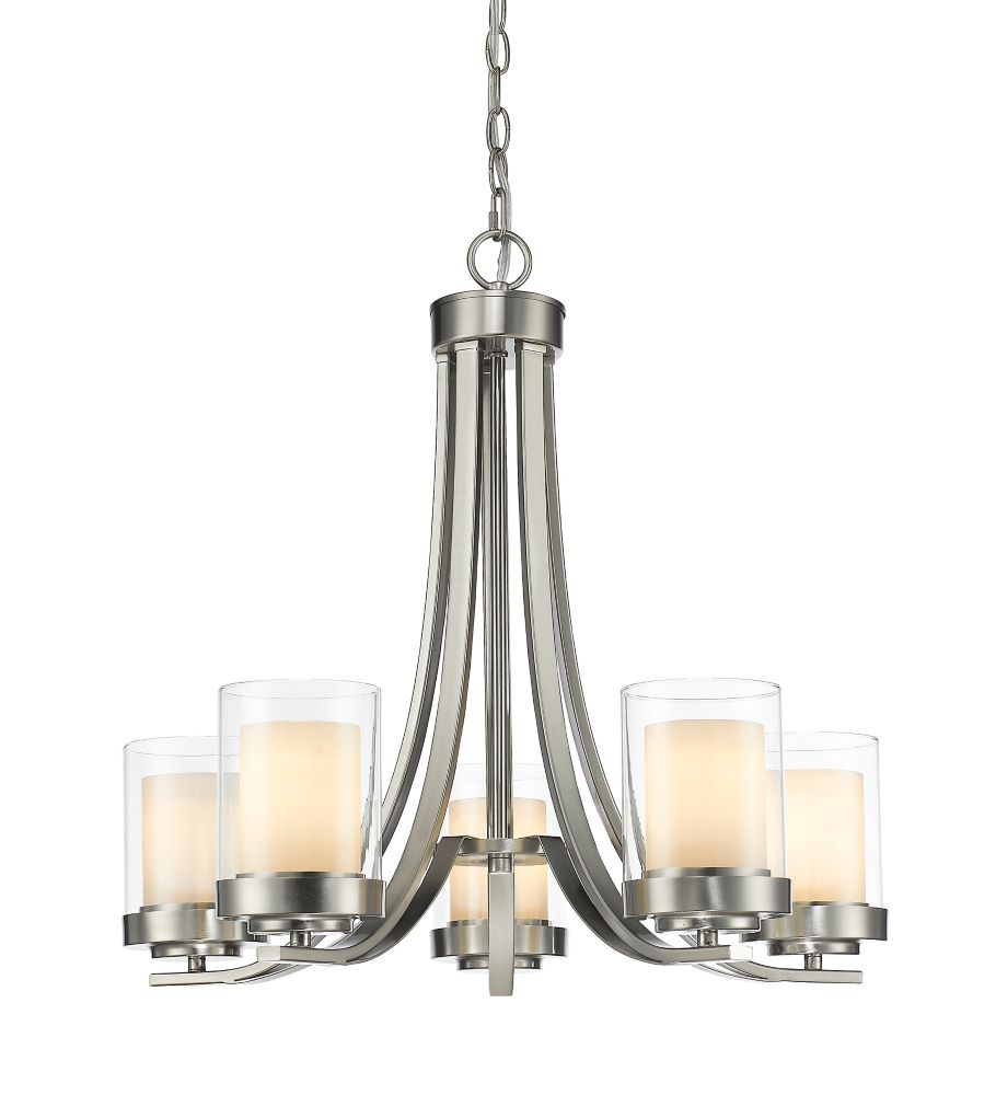 5-Light Brushed Nickel Chandelier with Clear and Matte Opal Glass - 25.25 inch