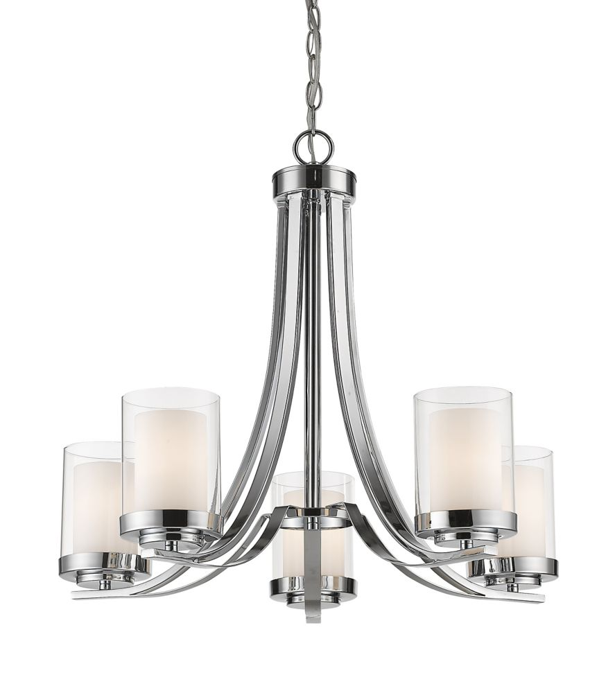 Filament Design 5-Light Chrome Chandelier with Clear and Matte Opal Glass - 25.25 inch