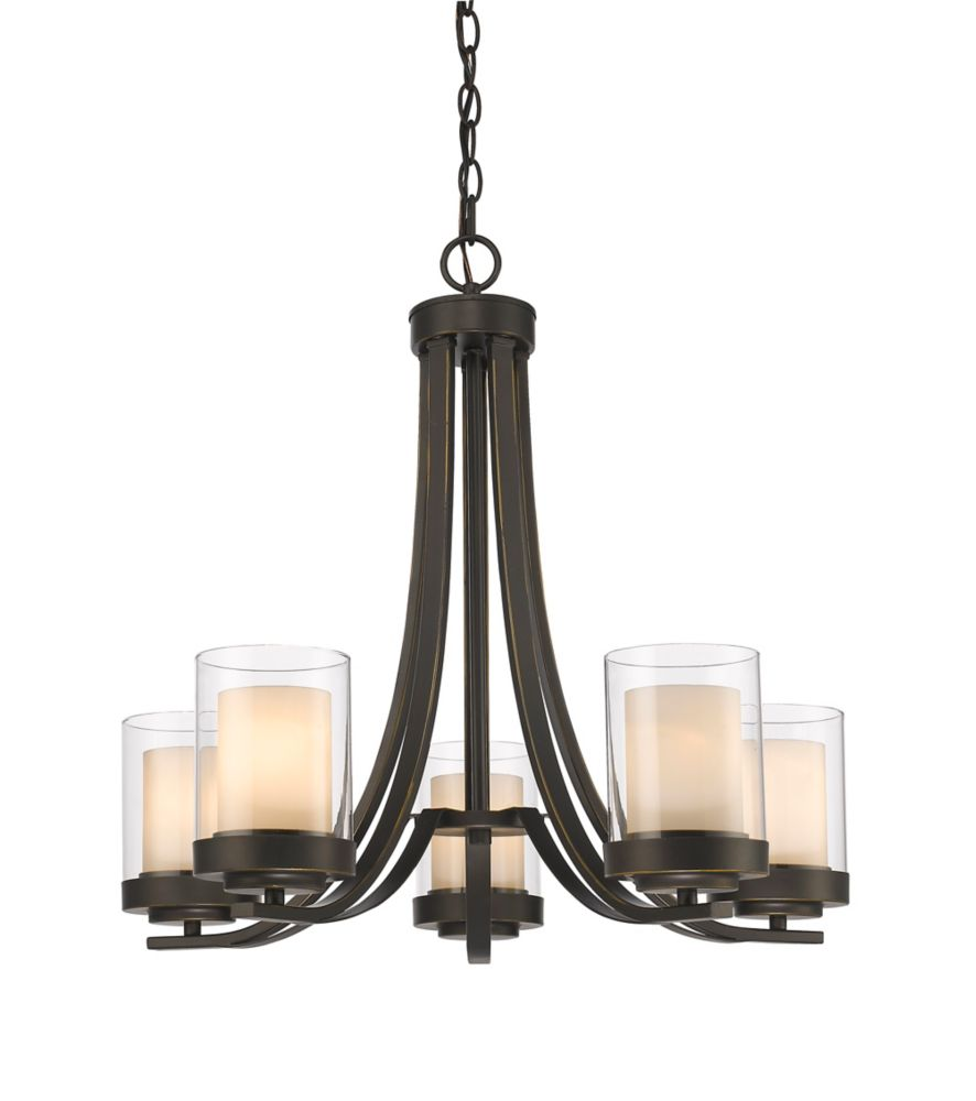 Filament Design 5-Light Olde Bronze Chandelier with Clear and Matte Opal Glass - 25.25 inch