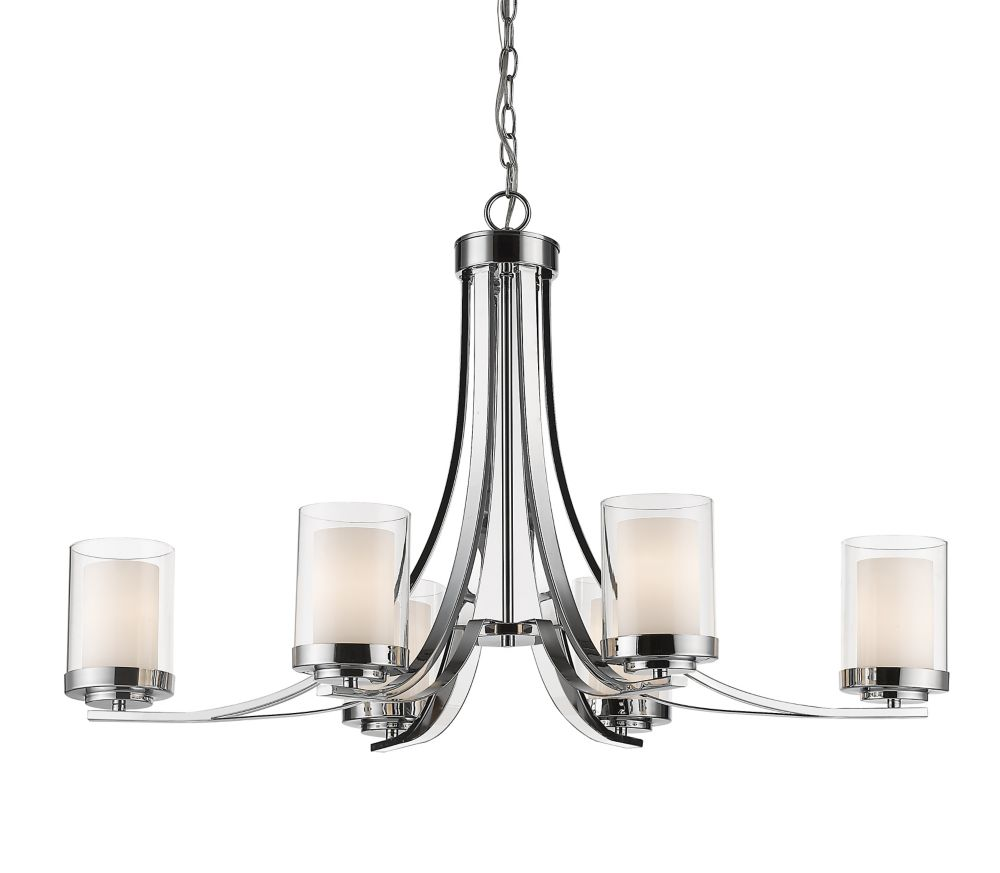Filament Design 6-Light Chrome Chandelier with Clear and Matte Opal Glass - 18.5 inch