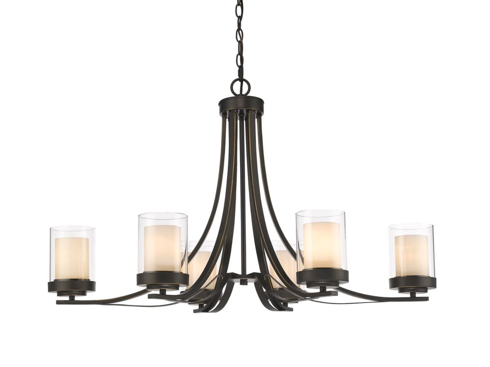 Filament Design 6-Light Olde Bronze Chandelier with Clear and Matte Opal Glass - 18.5 inch