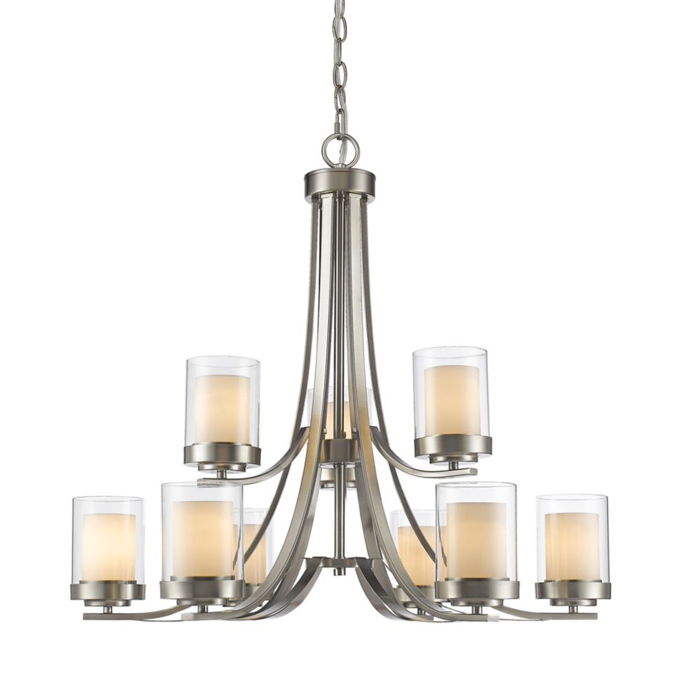Filament Design 9-Light Brushed Nickel Chandelier with Clear and Matte Opal Glass - 31.25 inch