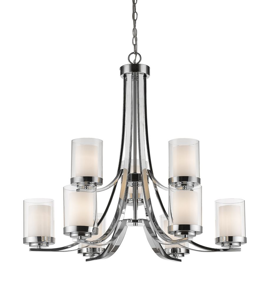 9-Light Chrome Chandelier with Clear and Matte Opal Glass - 31.25 inch