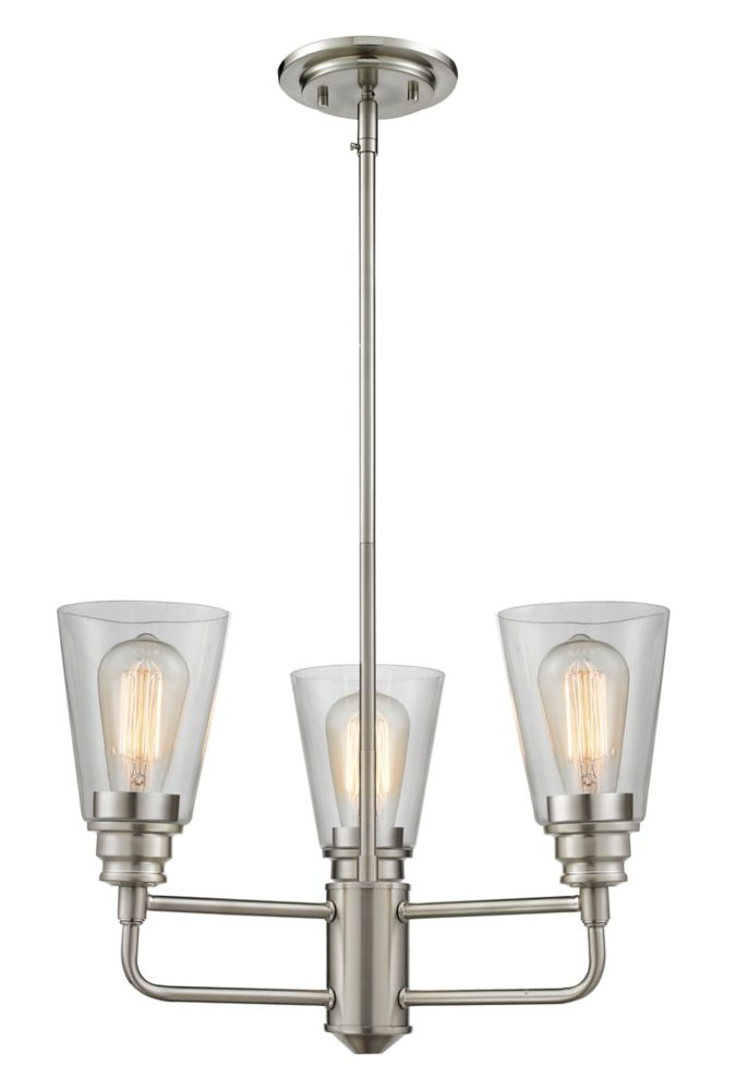 3-Light Brushed Nickel Chandelier with Clear Glass - 19 inch