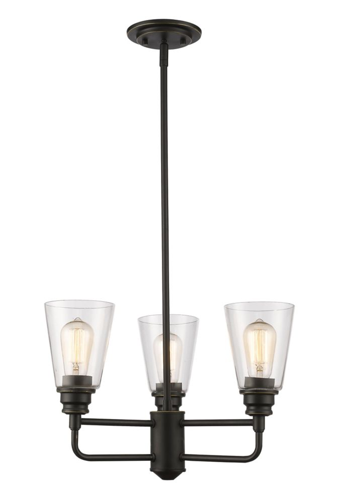 3-Light Olde Bronze Chandelier with Clear Glass - 19 inch