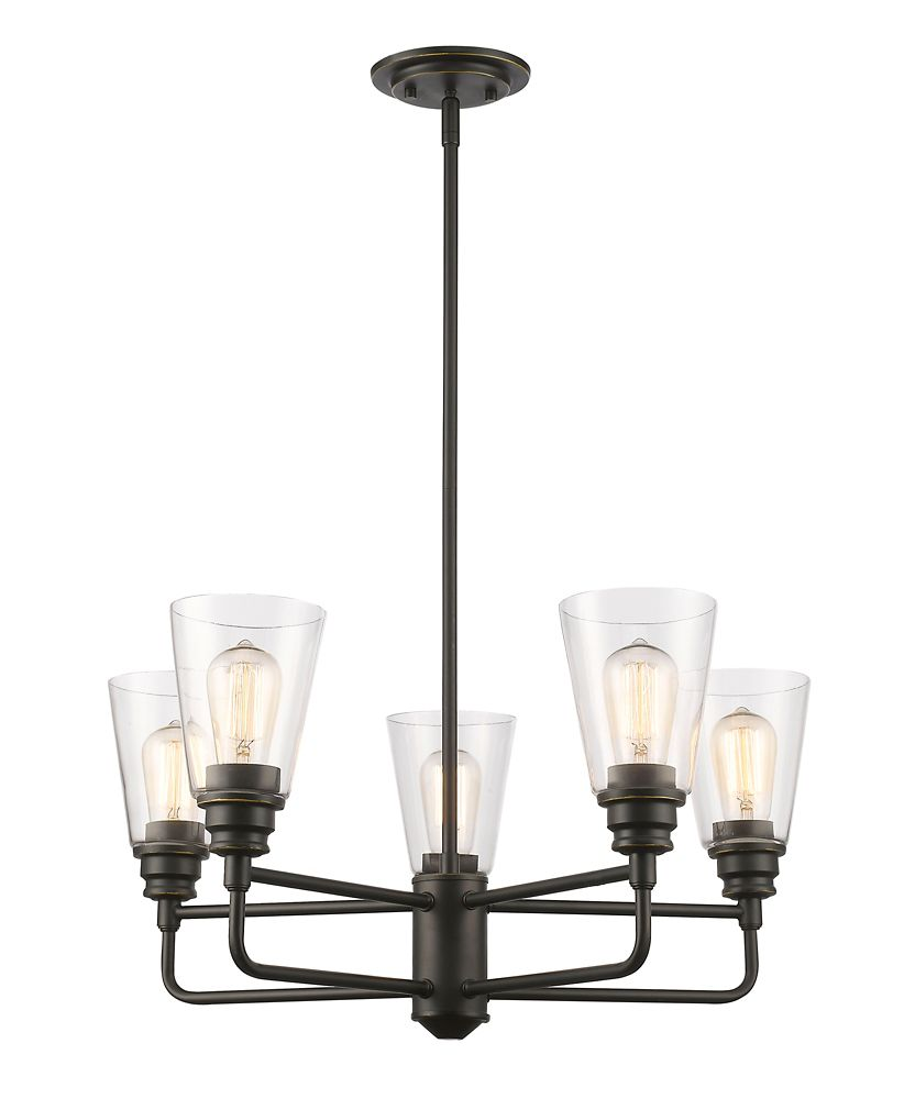 5-Light Olde Bronze Chandelier with Clear Glass - 25.13 inch