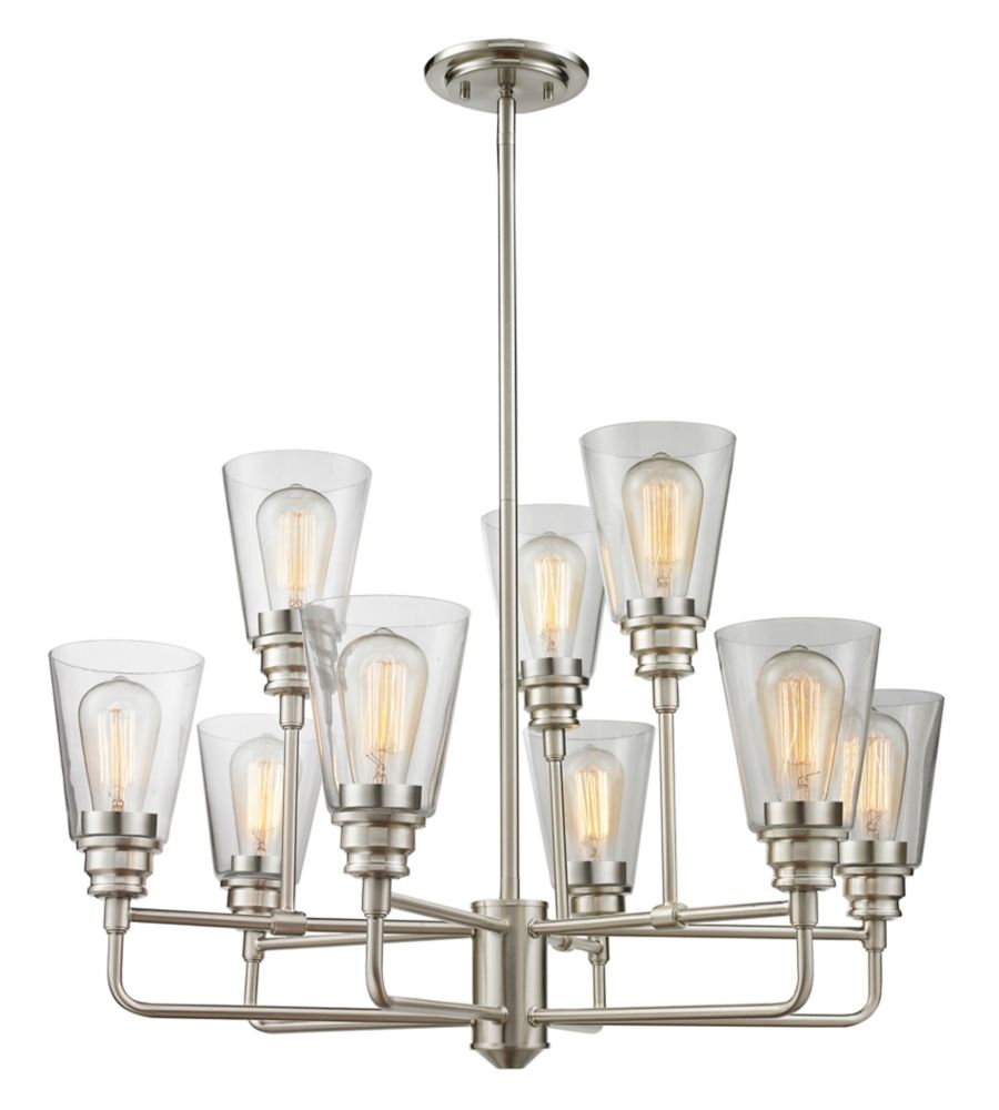 9-Light Brushed Nickel Chandelier with Clear Glass - 29 inch