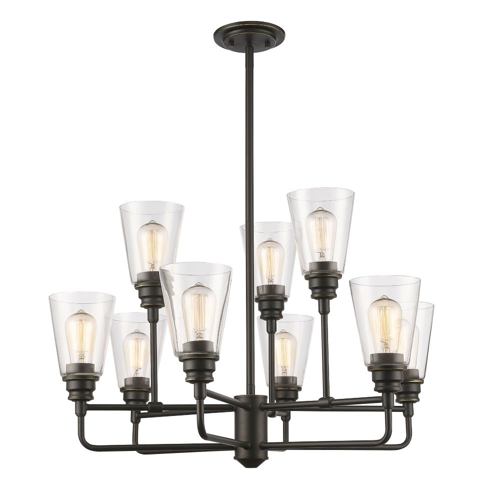 9-Light Olde Bronze Chandelier with Clear Glass - 29 inch