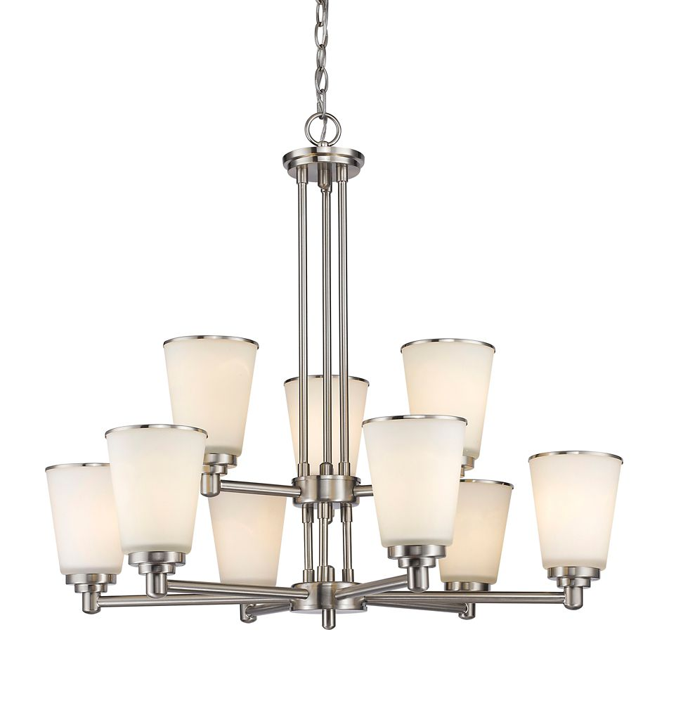 9-Light Brushed Nickel Chandelier with Matte Opal Glass Shades