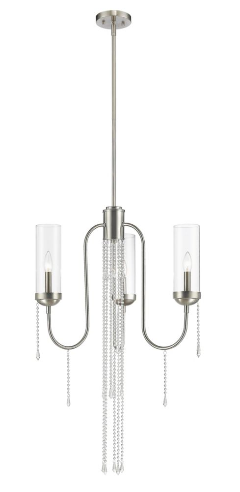 Filament Design 3-Light Brushed Nickel Chandelier with Clear Glass - 21 inch