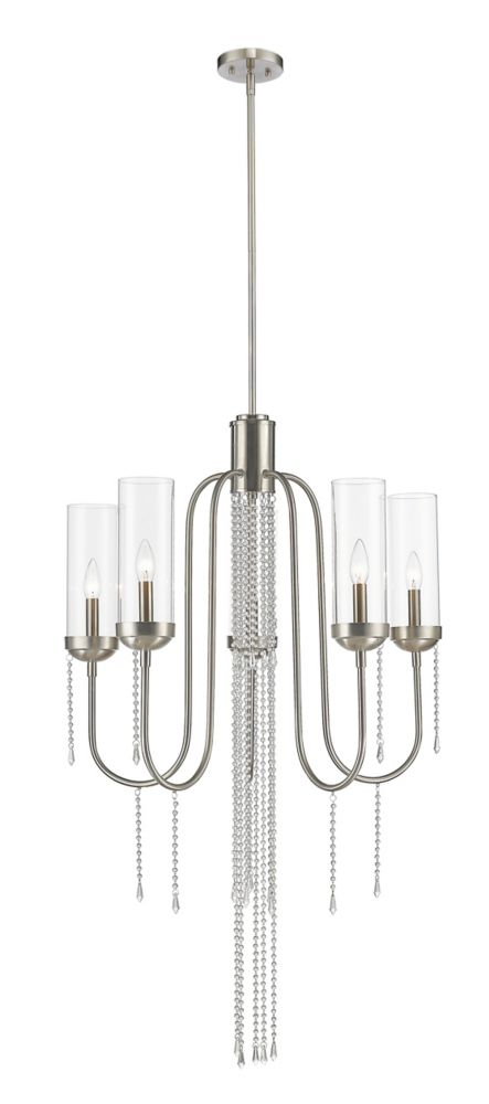 5-Light Brushed Nickel Chandelier with Clear Glass - 26 inch