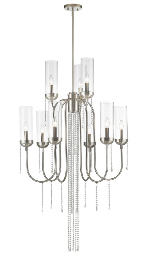 Filament Design 9-Light Brushed Nickel Chandelier with Clear Glass - 30 inch