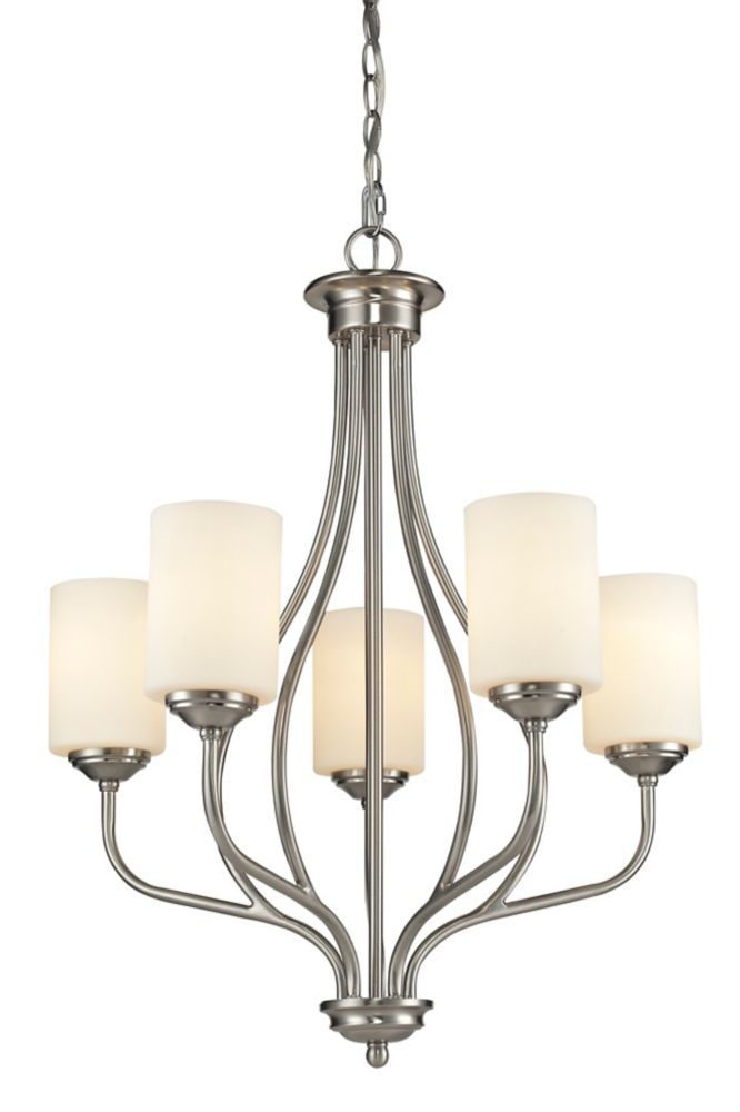 Filament Design 5-Light Brushed Nickel Chandelier with Matte Opal Glass - 23 inch