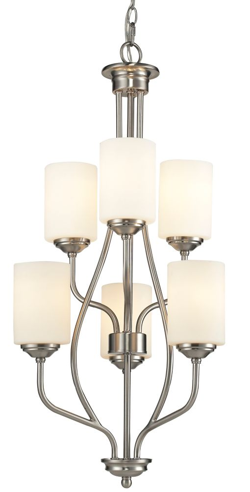 Filament Design 6-Light Brushed Nickel Chandelier with Matte Opal Glass - 18 inch
