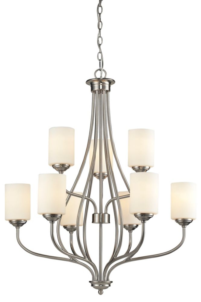 Filament Design 9-Light Brushed Nickel Chandelier with Matte Opal Glass Shade(s) - 30 inch