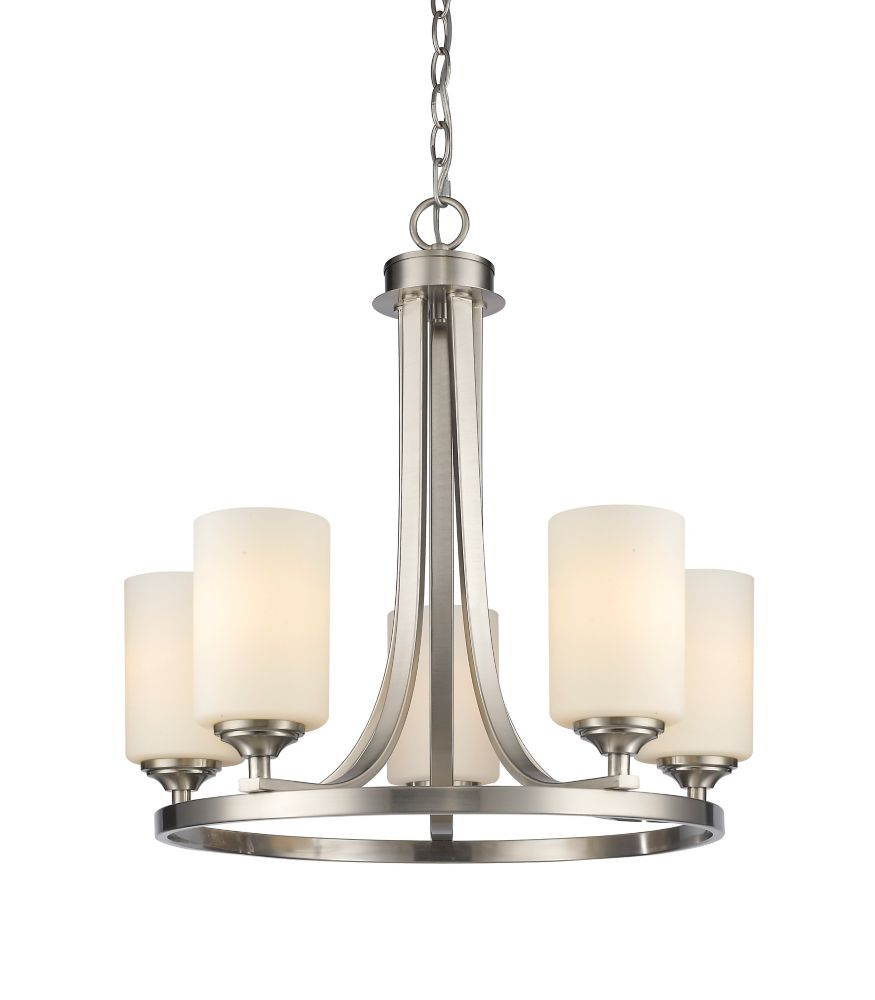 5-Light Brushed Nickel Chandelier with Matte Opal Glass - 21.5 inch