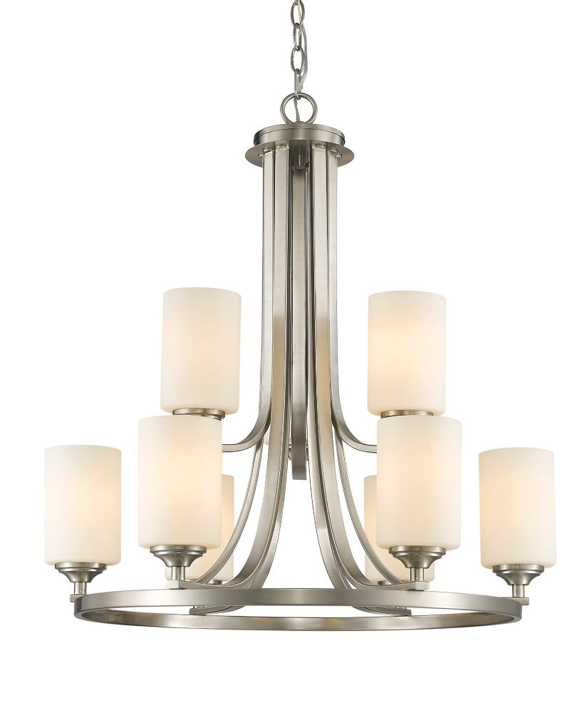 9-Light Brushed Nickel Chandelier with Matte Opal Glass - 26.25 inch