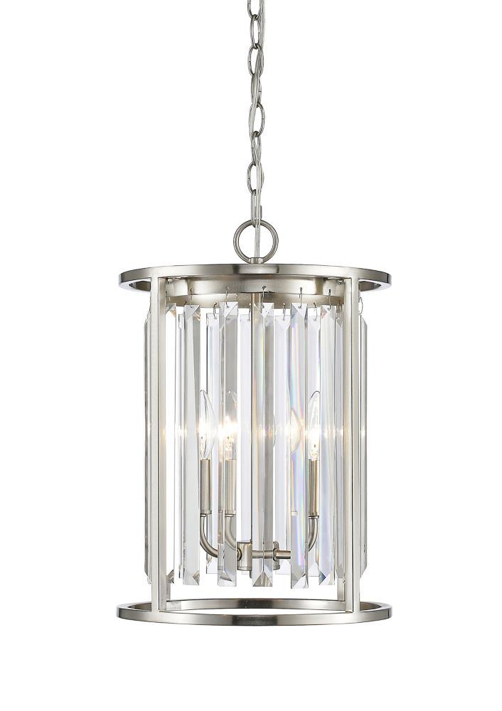 Filament Design 3-Light Brushed Nickel Chandelier with Clear Crystal Accents - 12 inch