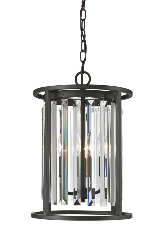 Filament Design 3-Light Bronze Chandelier with Clear Crystal Accents - 12 inch
