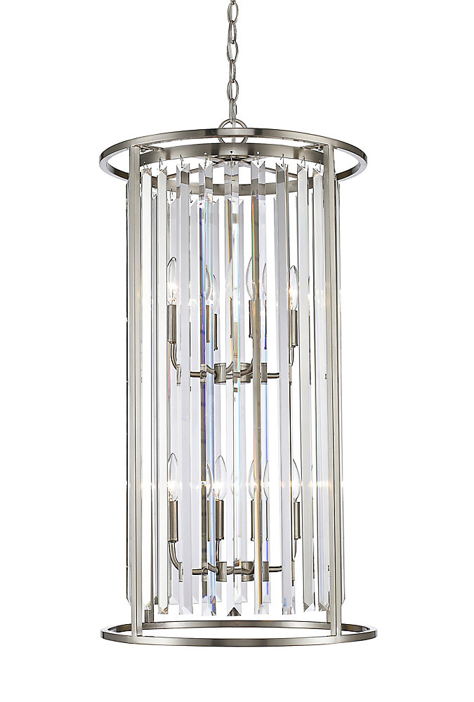 8-Light Brushed Nickel Chandelier with Clear Crystal Accents - 17 inch
