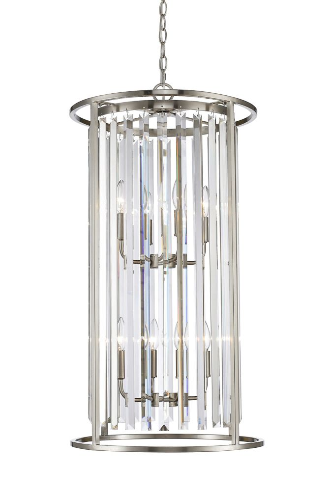 Filament Design 8-Light Brushed Nickel Chandelier with Clear Crystal Accents - 17 inch