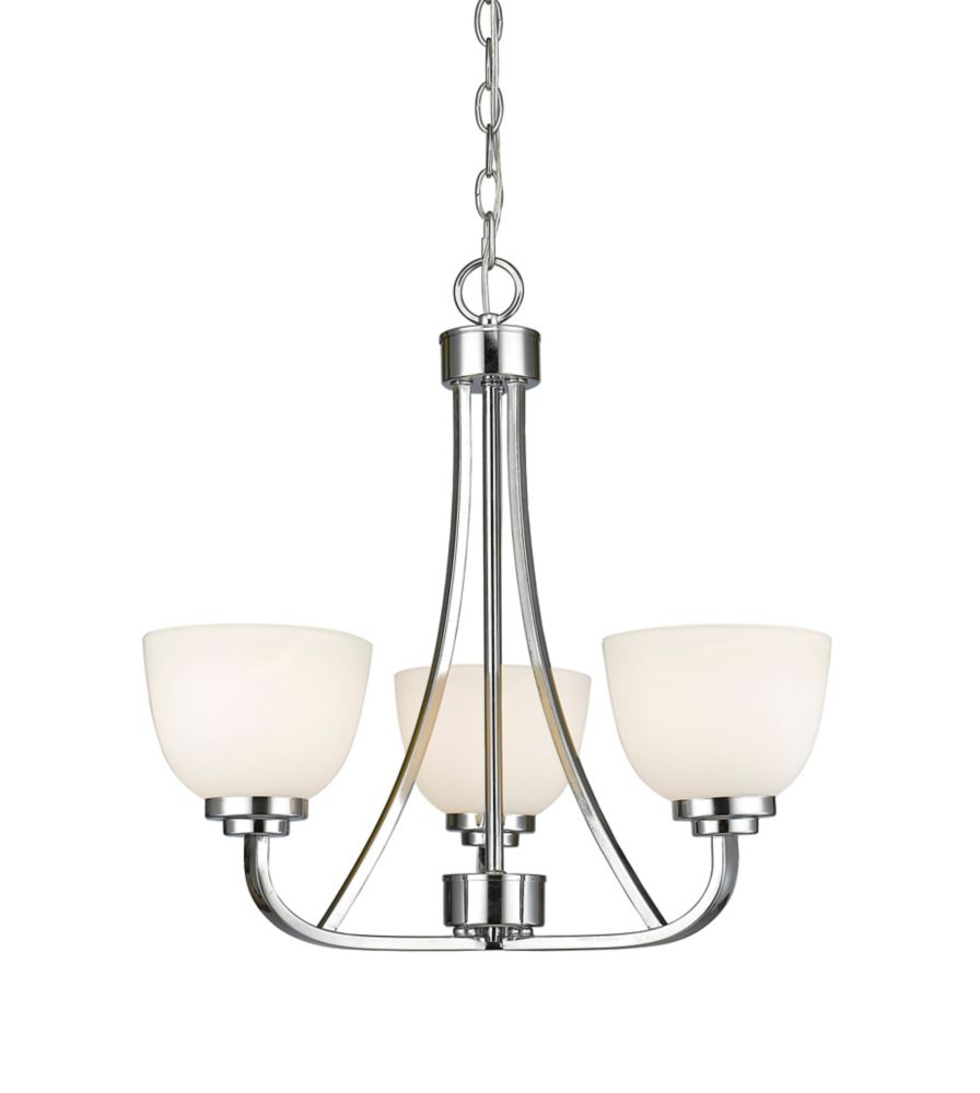 Filament Design 3-Light Chrome Chandelier with Matte Opal Glass - 20.5 inch