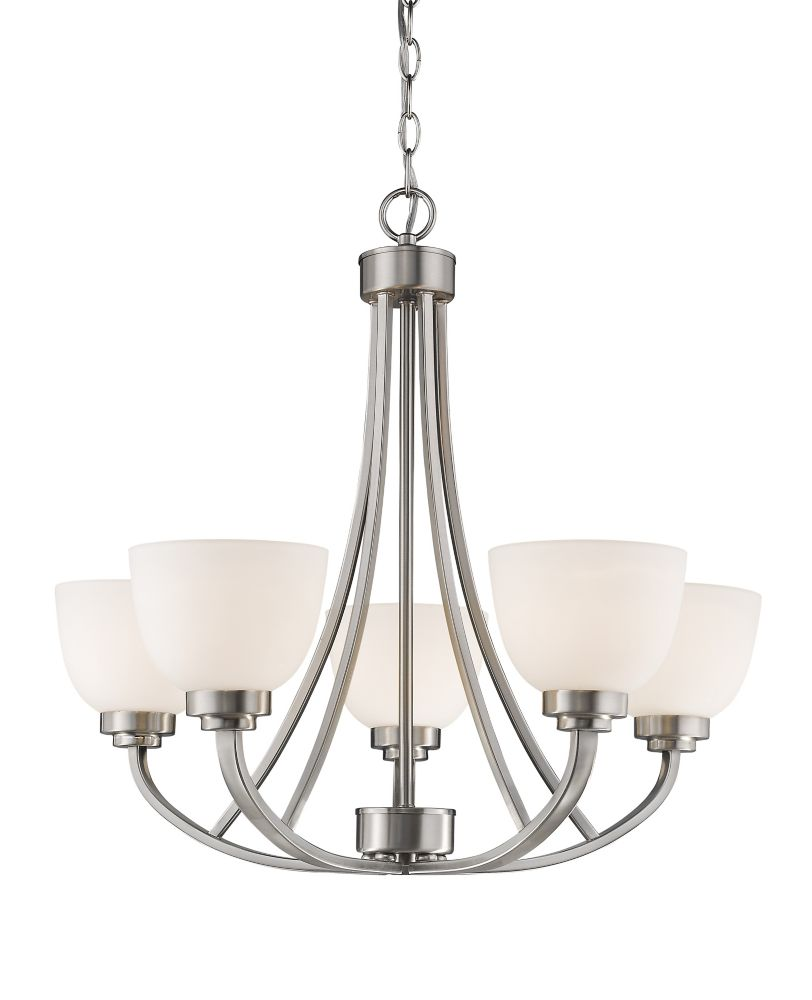 5-Light Brushed Nickel Chandelier with Matte Opal Glass Shades